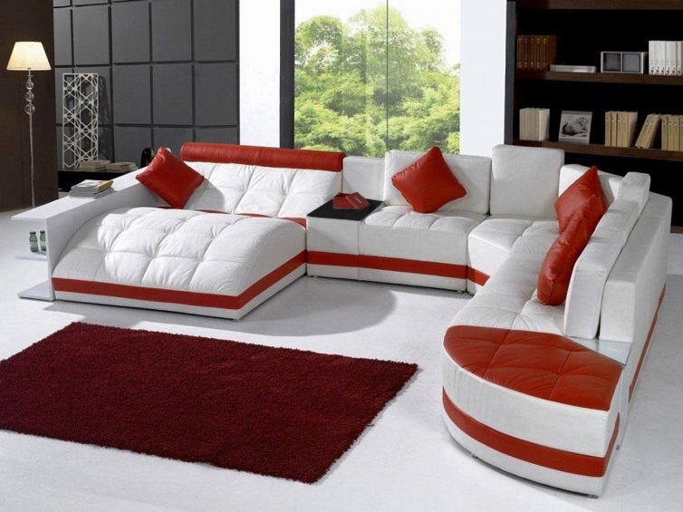 Modern white red sofa living room sofa set modern leather for Modern living room red