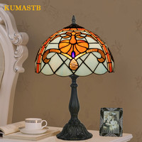 European Style Vintage Table Light Bedside Table Lamps Bar Study Desk Lamp Hotel Stained Glass Light Dia30cm H49cm