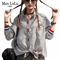 Max LuLu 2018 Famous Brand Designer Girls Punk Streetwear Women 3d Striped Denim Shirts Pattern Woman