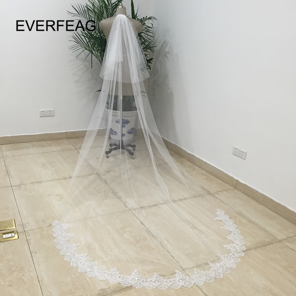 Hot White Ivory 3M Lace Cathedral Wedding Veil With Comb Sequins Bridal Veils veu de noiva longo com renda Free Shipping