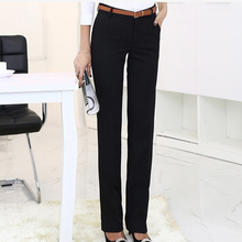 Solid OL High Waist Straight Formal Trousers for Women Plus Size Black  Workwear Fashion Female Pants. 3 Colors Available 155f88b1077e