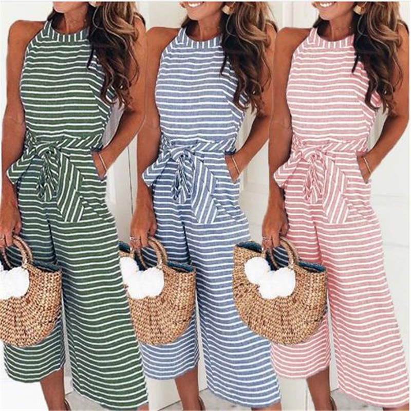 Women Sleeveless Stripe Playsuit Ladies Summer Romper Long Jumpsuit Trousers Women Summer O-neck Bowknot