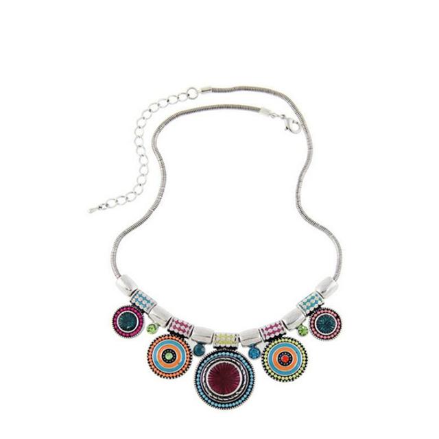 Nuevo Collar de Gargantilla de Moda Étnica Collares Plateados Plata del Grano Colorido Colgante Declaración Collar Para Las Mujeres Joyería P0