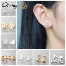 2018 New Cat Dachshund Dog Paw Earrings Women Child Girls Birthday Gift Silver Gold Cute Animal Stud Earring Wholesale Jewelry(Hong Kong,China)