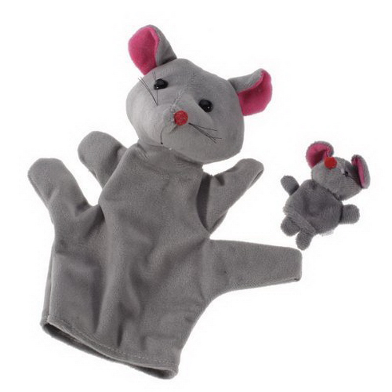 2Pcx/Lot Big Size Animal Glove Puppet Hand Dolls Plush Toy Mouse Hand Puppet Finger Puppet Grey