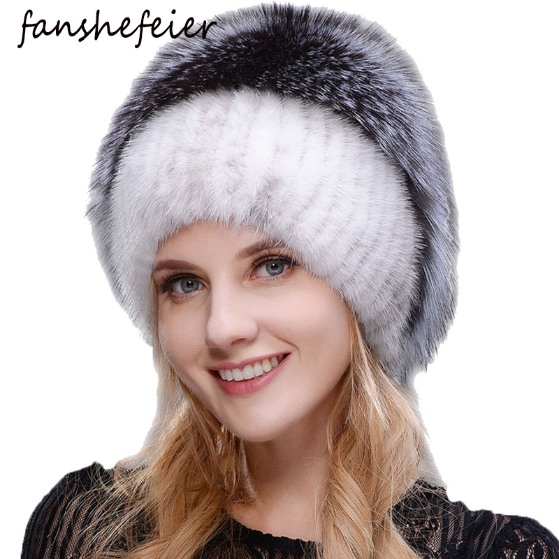 Fanshefeier Winter Female Fur Beanies Real Mink Hat High Quality Fashion Silver Fox Fur  Hats Women Thick Warm Knitted Beanies