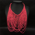 New Fashion jewelry bead necklace nigerian wedding african beads seed bead necklace NK835