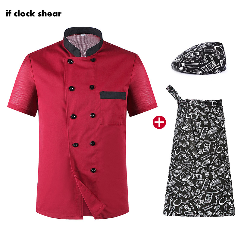 Unisex Chef Uniform Breathable Workwear Jacket+Hat+Apron Double Breasted Short Sleeve Restaurant Hotel Kitchen Chef Work Clothes