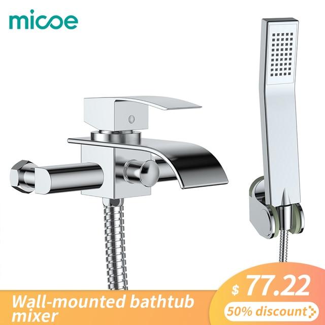 Micoe Badewanne Wasserhahn Wand Montiert Bad Dusche Wasserhahn Bad Dusche Wasserhahn Set Wasserfall Messing Dusche Wasserhahn Dusche Mischer