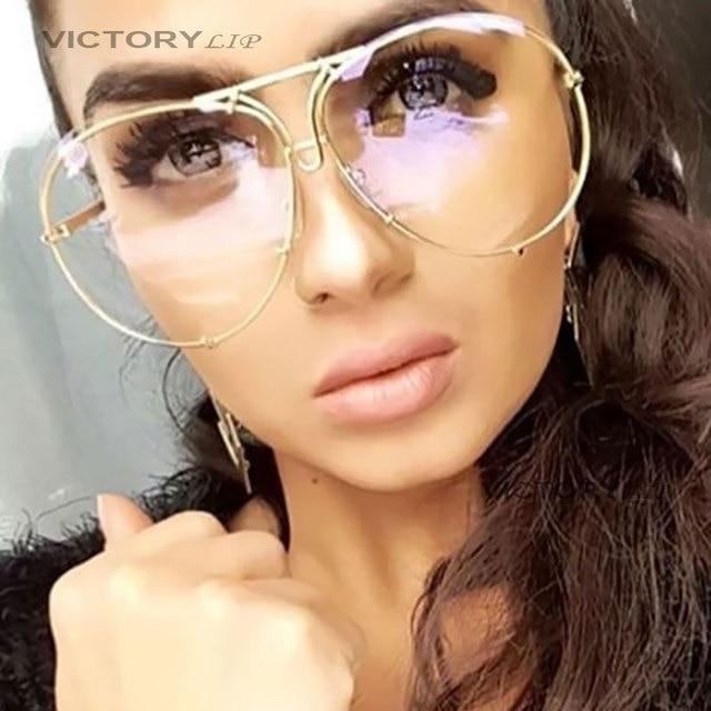 7110b1f7774b7 Aviação VictoryLip UV400 Óculos de Sol Feminino Masculino Transparente  Óculos Oversized óculos de Sol Homens Mulheres