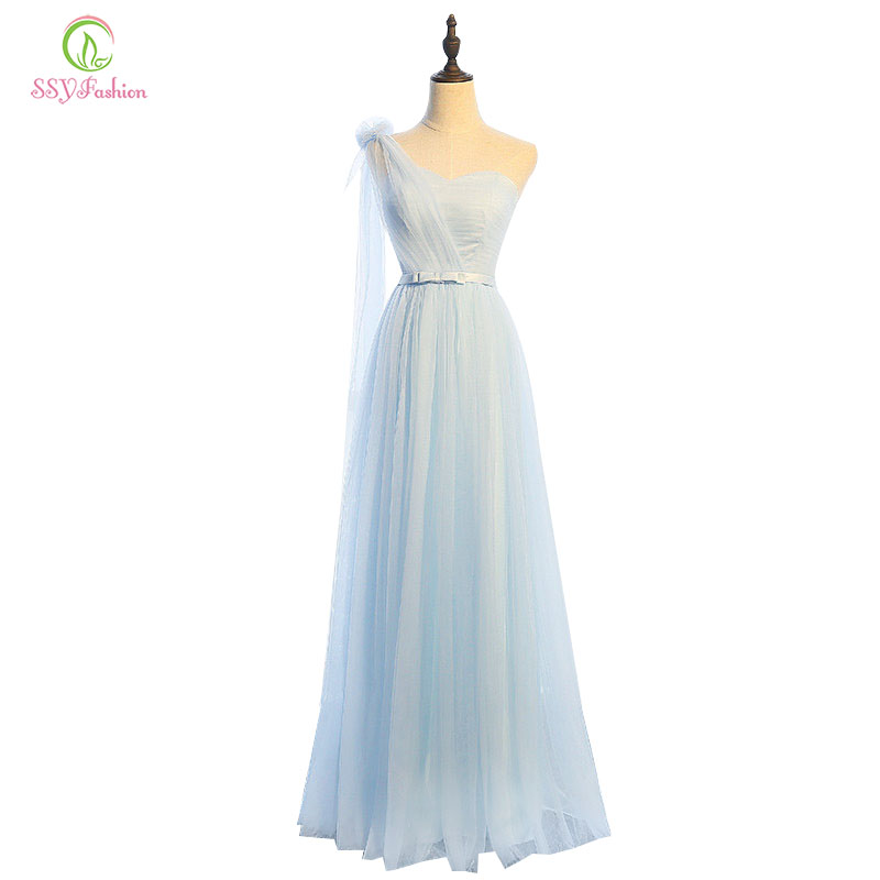Bridesmaid     Dresses   SSYFashion 4 Styles Floor-length Light Blue Tulle Bride Banquet Party Formal   Dress   Custom Homecoming   Dresses