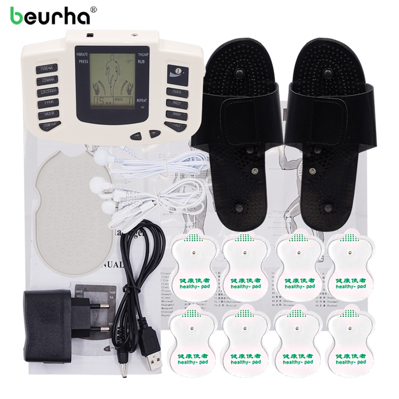 Beurha Electrical Muscle Stimulator Therapy Massager Pulse Tens Acupuncture Russian button Full Body Massage Relax Care 16 pads 2017 full body massager pulse slimming muscle relax massage electric slim 4 pads jun30 15