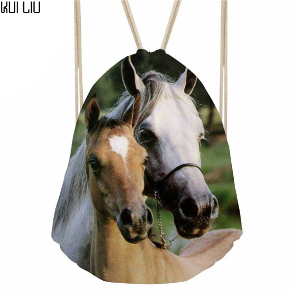Daypack Teenagers Fashion Packing Bags Kids School Rucksack Sack Women's Drawstring Bag Females 3D Horse Printing