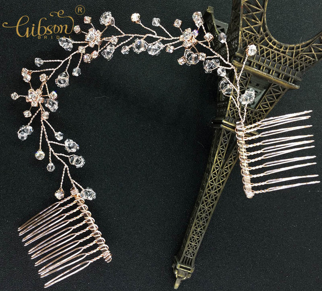 Popular Color Rose Gold Crystal Wedding Hair Comb Bridal Rhinestone