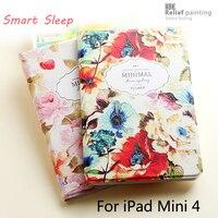 Luxury Designer Case For Ipad Mini 4 Smart Stand Case 3D Embossing For Ipad Mini4 Cover