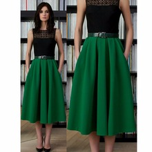 9a8c8f14c0 Office Lady Green Color Tea length Satin Skirts With Pockets Fashion Skirt  Custom Made Zipper Female