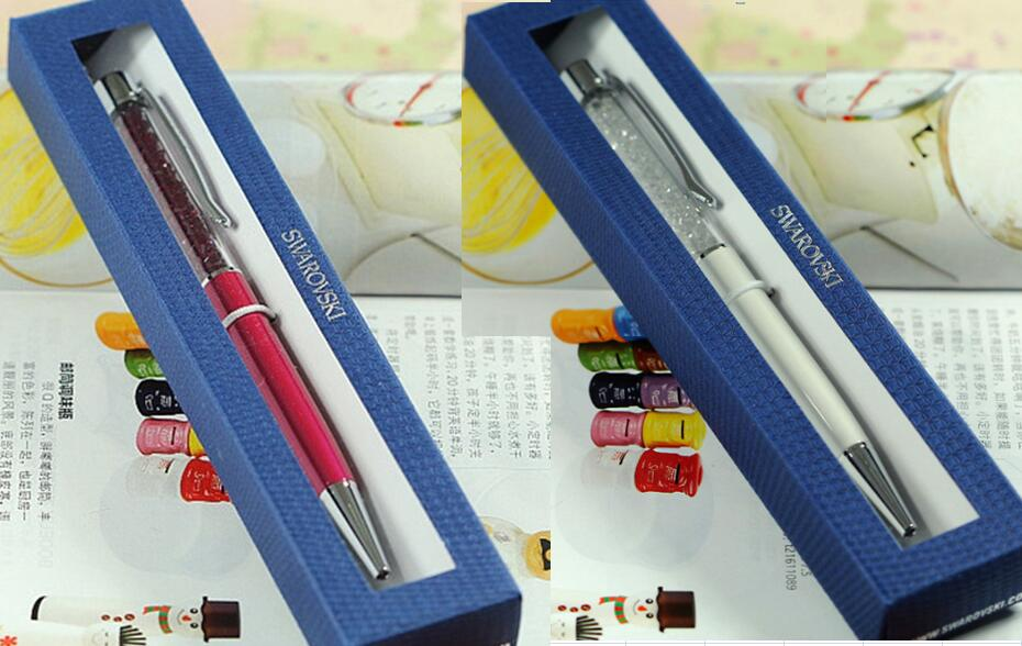 24 colors swarovski pen with gift retail box case diamond crystal pen swarovski elements crystals wedding