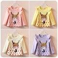 2016 весна девушки футболки нова детские Мультфильм футболки для девочек мило майка infantis Футболка С Длинным Рукавом дети одежда для девочек