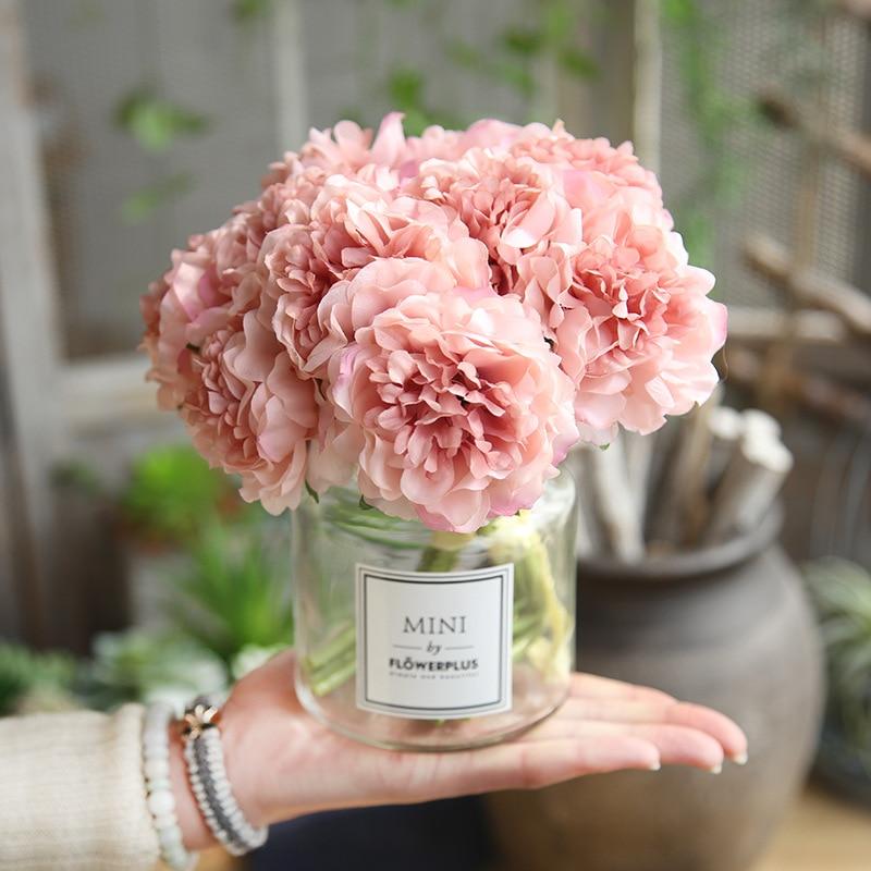 Artificial Flowers Peony Bouquet for Wedding Decoration 5 Heads Peonies Fake Flowers Home Decor Silk Hydrangeas Cheap Flower 流水 盆 養魚