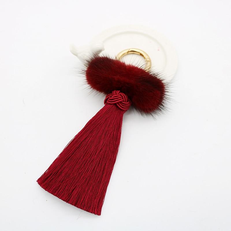 8f2a2d9153 Black Red Genuine Mink Fur Pompom Keychain Ice Silk Tassel Key Chain Women Bag  Charm Car Key Ring key holder Fashion Jewelry