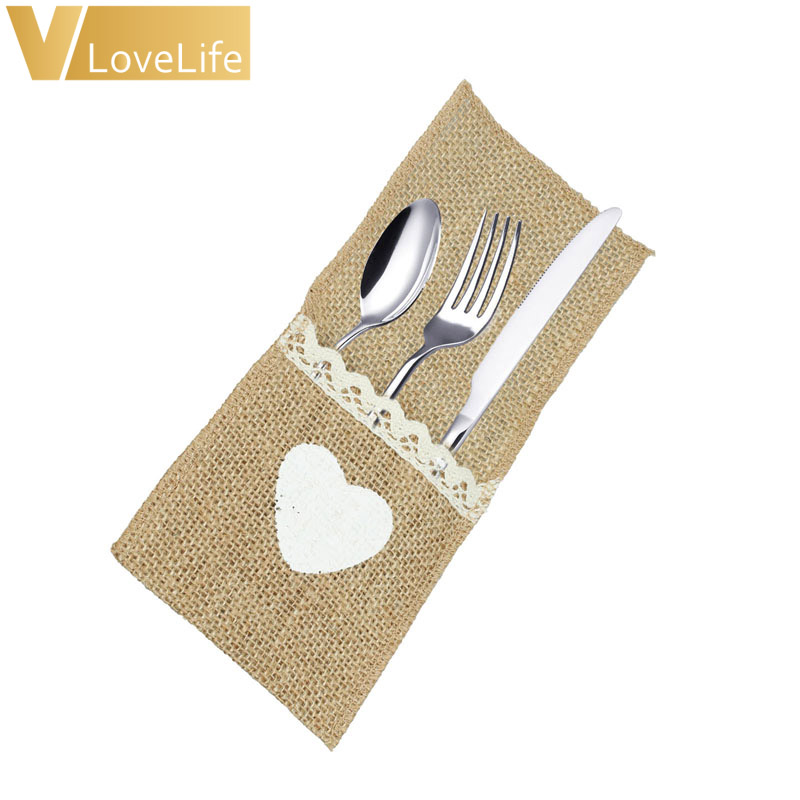 100pcs Heart Burlap Tableware Pouch Pocket Jute Rustic Knife and Fork Bag for Wedding Decoration Disposable