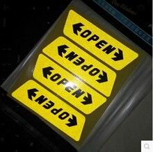 4pcs/set Car styling Door Open Warning Stickers For Mitsubishi ASX/Outlander/Lancer Evolution/Pajero/Eclipse/Grandis