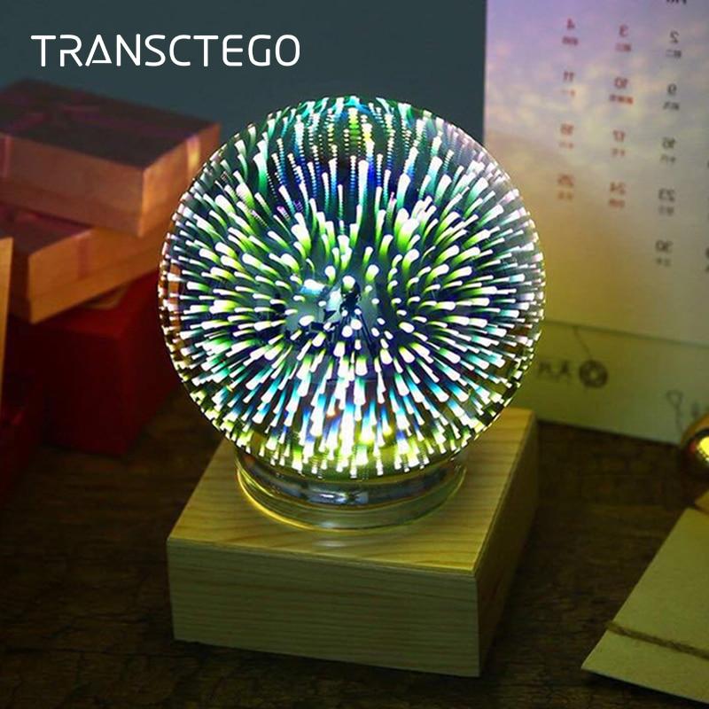 LED Night Light Novelty Table lamp 3D Romantic Desk Lamp Mood Nightlight Glass Ball Wooden Base Ideal for Xmas Decoration Light