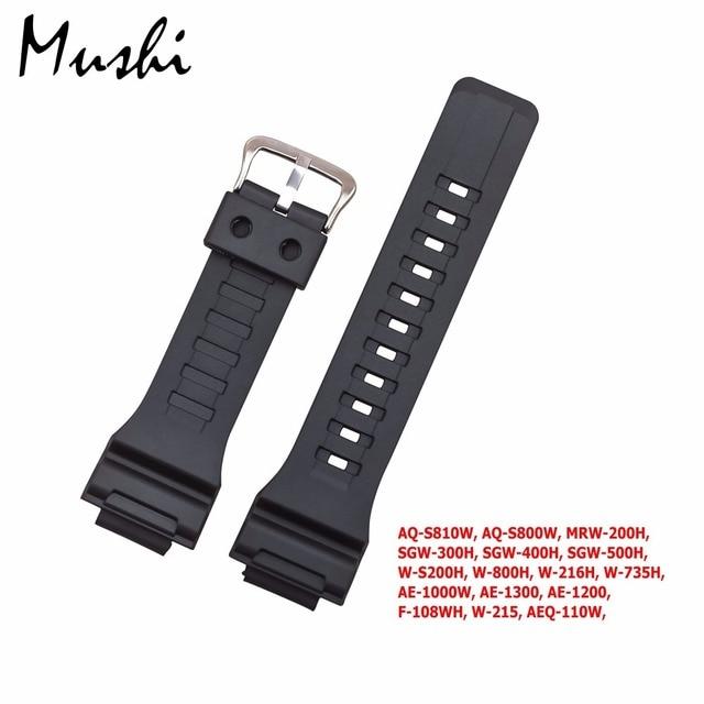 Ms Cinturino In Gomma Per Casio Aq-S810w, Aq-S800w, Mrw-200h, Vigilanza Del Brac