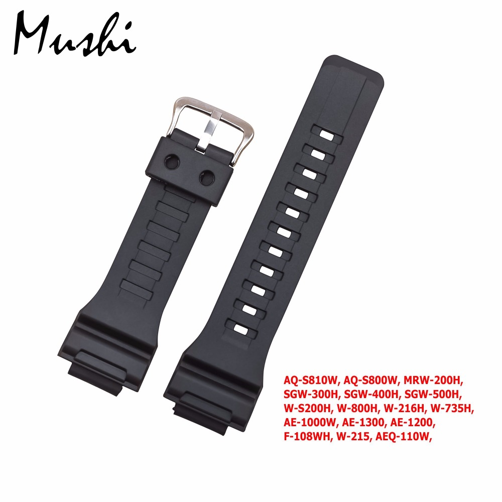 MS Rubber Strap for Casio AQ-S810W, AQ-S800W, MRW-200H, Silicone Watchband Pin Buckle Strap Watch Wrist Bracelet Men Black+Tool casio mrw 200h 4b