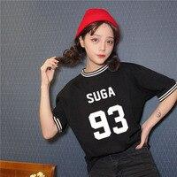 Estilo de moda de verano impresión kpop bts bangtan niños nombre de miembro o cuello corto manga camiseta floja camiseta para niñas (manga 16 cm)