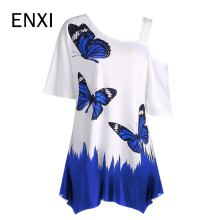 ENXI Summer White Maternity T Shirt Fashion Tops For Pregnant Women Nursing Sexy Clothes Butterfly Animal