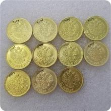 1898-1911 Россия 10 ROUBLE CZAR NICHOLAS II Золотая копия монет