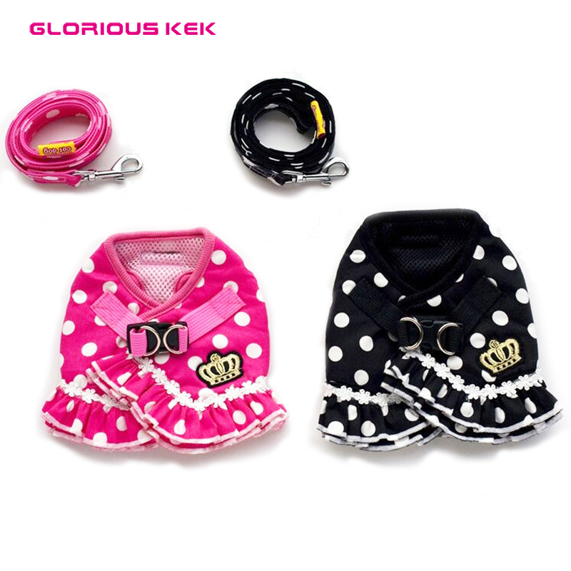 Glorious Kek Designer Dog Harness&Leash Set Cute Small Dogs Harness Clothes Polka Dots Crown Puppy Harness Vest for Chihuahua