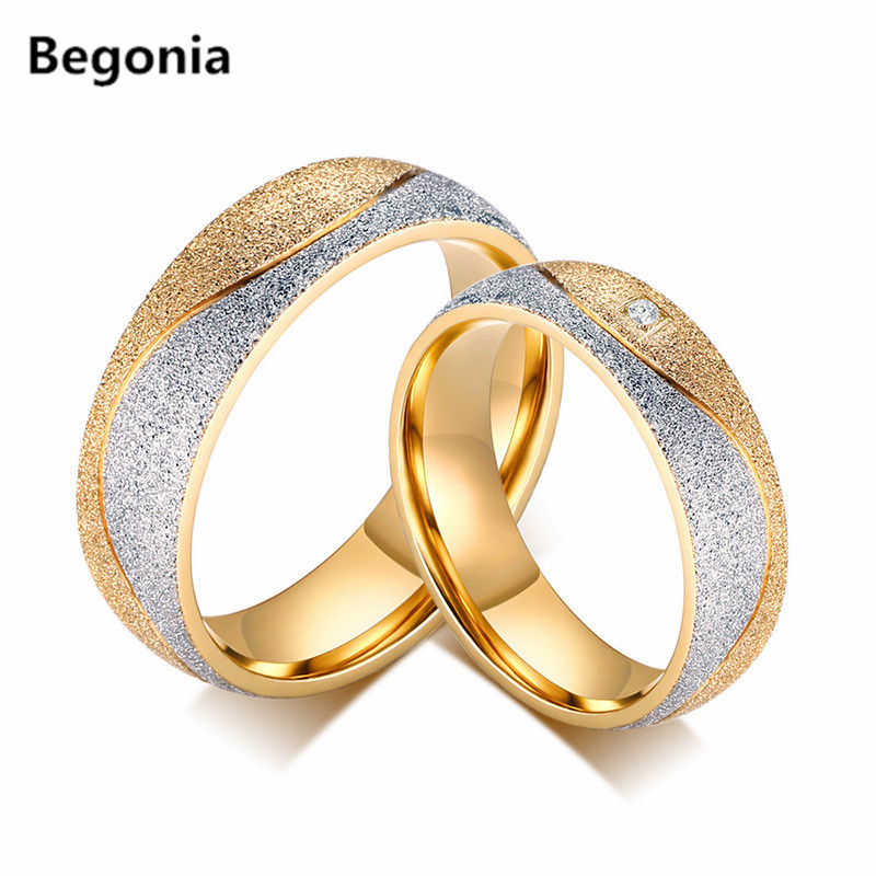 fashion titanium steel gold plated cz rings