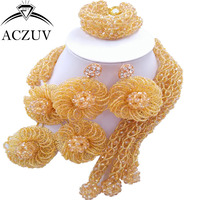 ACZUV Latest Gold AB African Jewelry Set Dubai Nigerian Wedding Beads Jewellery Sets C3F011