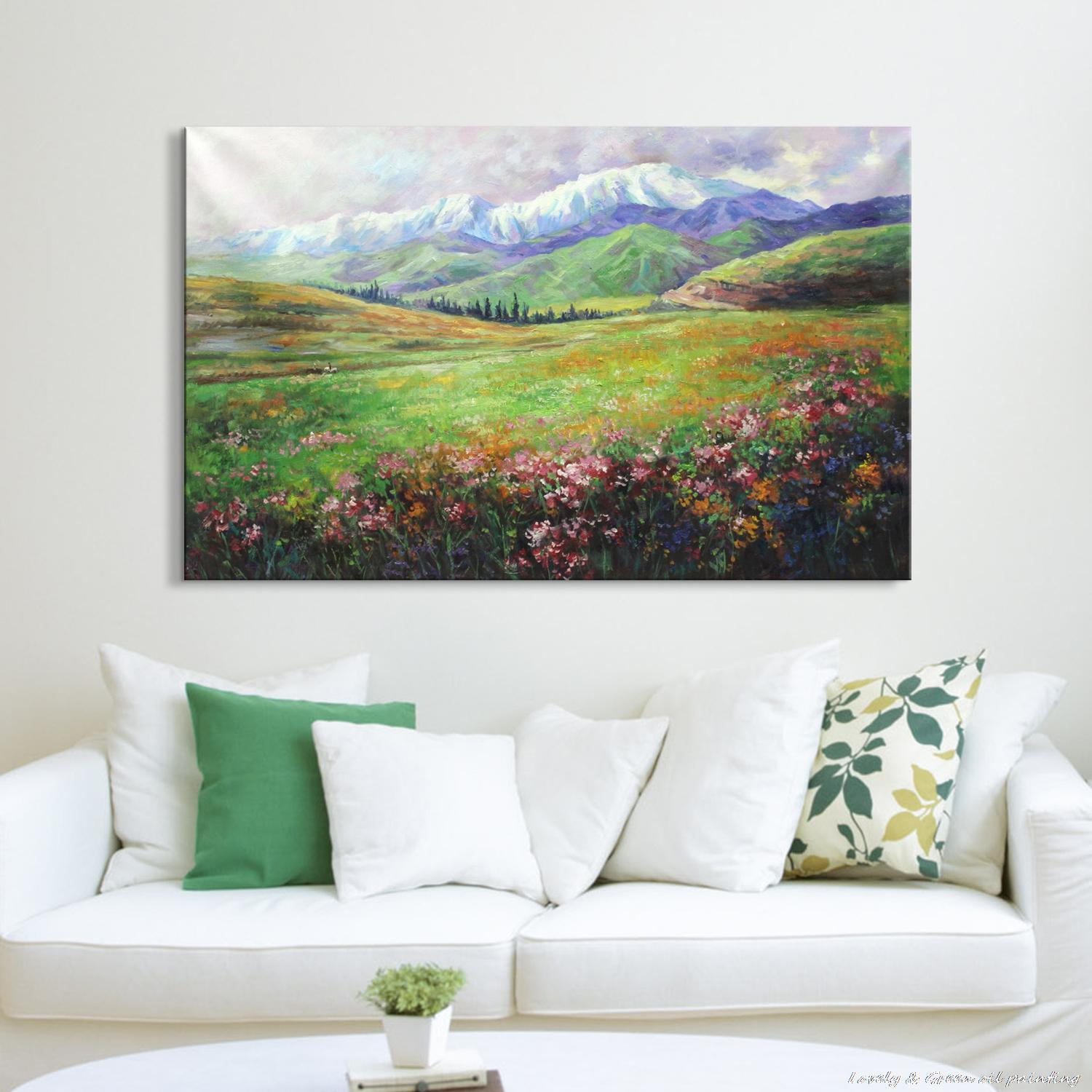 50 Beautiful Wall Painting Ideas And Designs For Living: Hand Painting Spring Blossoms Natural Landscape Oil