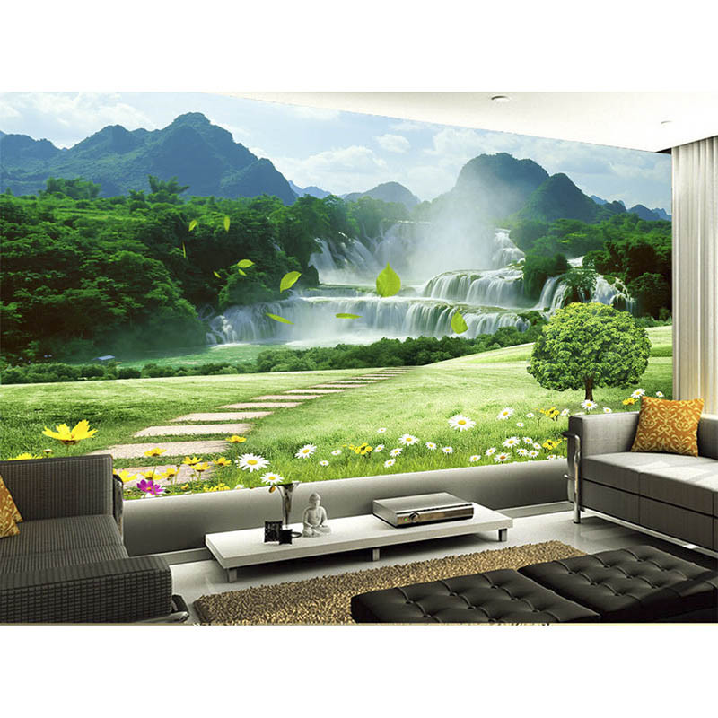 3D Wallpaper Mural Decor Photo Backdrop Extension Personality Wall Mural Wallpaper Painting Beautiful Mountain Waterfall Scenery