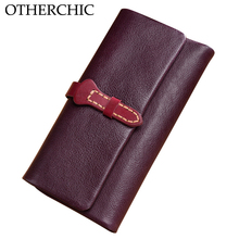OTHERCHIC Vintage Real Leather Women Wallets Card Holder Stylish Slim Wallet Women Female Purses Money Bag Ladies Purse 7N01-19