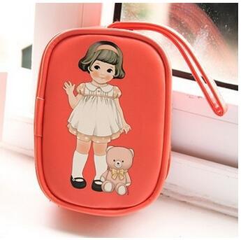 1 шт./лот Корейский кукла девушка канцелярские держатель монеты бумажник мешка ключевой мешок многофункциональный мешок для мобильного тел...