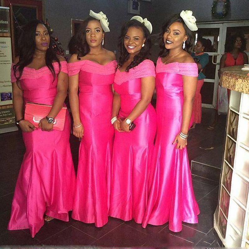 Vestido de la dama de honor 2017 del hombro de satén de la sirena de la boda de
