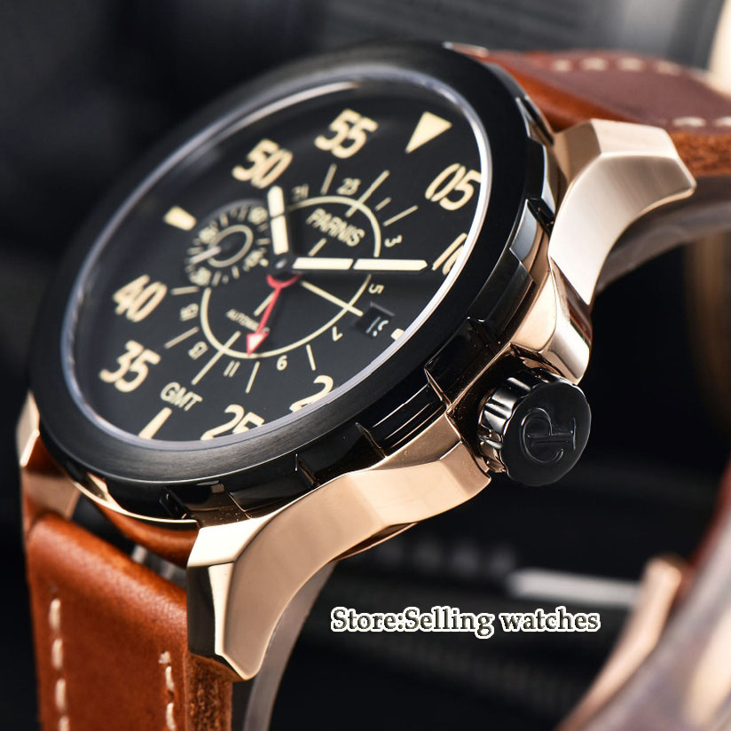 44mm Parnis Black Dial Rose Gold Steel Case red Adjustable GMT needle Leather Automatic Men's Watch