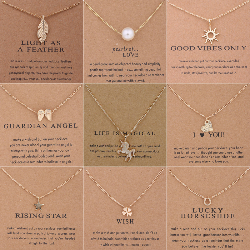 New Trendy Alloy Cute Elegant Sun Love Star Leaves Clover Unicorn Luck Pendant Necklaces for Women Fashion Accessories Jewelry