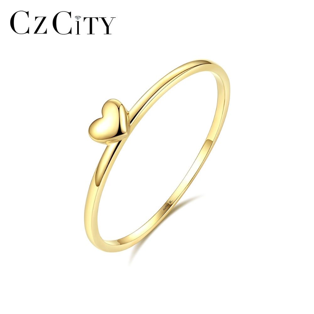 CZCITY Classic Pure 14K Gold Heart Wedding Rings for Women Thin Round Romantic Female Rings Yellow
