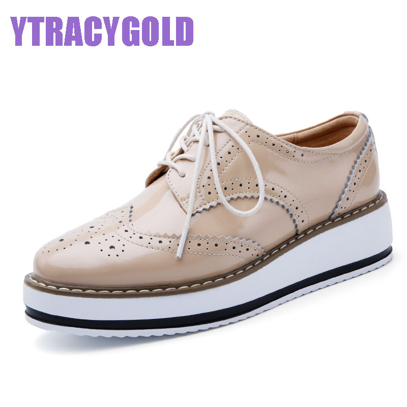 Brand Women Platform Casual Shoes Woman Brogue Patent Leather Flats Lace Up Footwear Female Flat Oxford Shoes For Women beffery 2018 british style patent leather flat shoes fashion thick bottom platform shoes for women lace up casual shoes a18a309