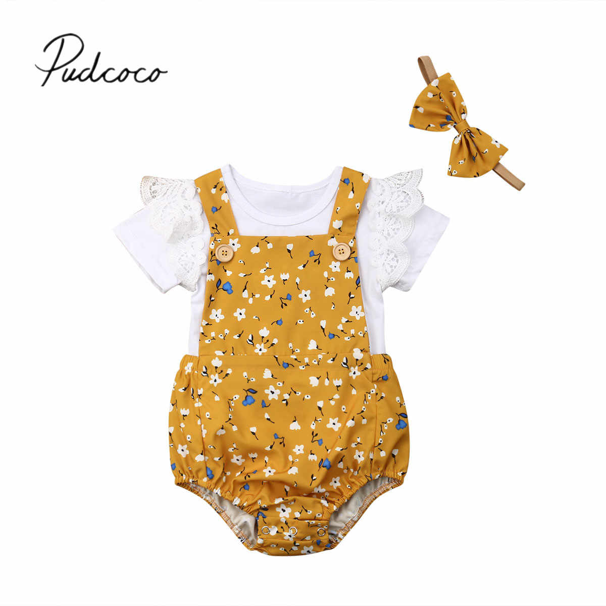 2019 Baby Summer Clothing Infant Baby Girl 3pcs Sets Clothes Short Sleeve T-shirt Floral Romper Babygrow Overall Outfits Sunsuit