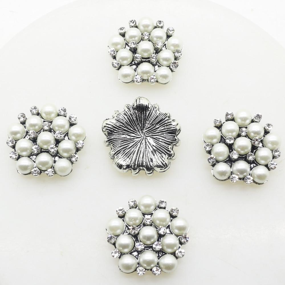 10 шт./лот 20 мм белый жемчуг искусственный кристалл из металла Пуговицы Flatback Алмаз Кнопка для свадьбы bouquent Обувь ремесло украшения