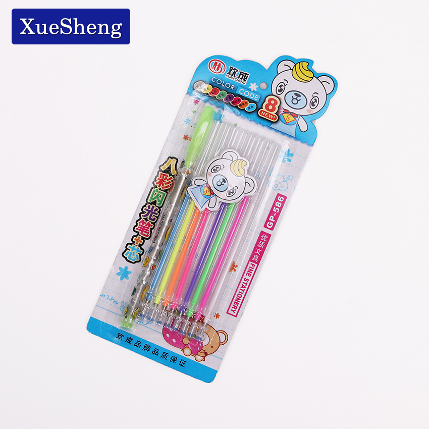 1 Pen With 8 Refill/set New Cute Colorful Gel Pen Set School Supplies Watercolor Pens School Office Stationery