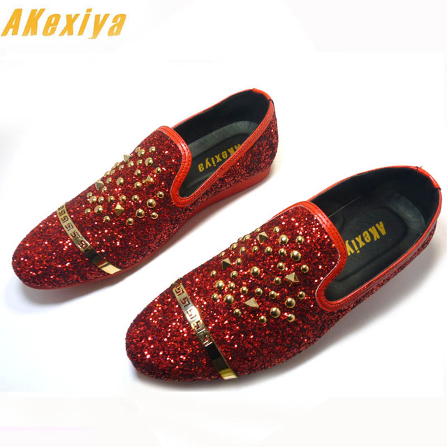 Men Brand Designer Streets Trendsetter sequins rivet loafers Casual Flats  Shoes Male Homecoming Dress Wedding Prom shoes groom a3a56c8c493b