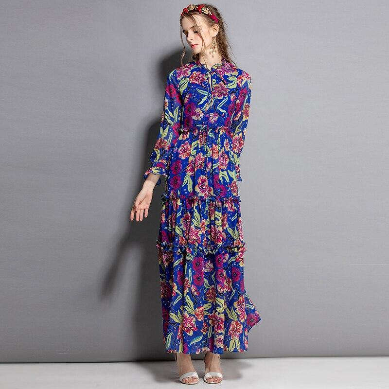 454f753b7e2 Femmes Populaire Ethnique Imprimer Lanterne Style Empire Piste Mode Fleurs  Longue Robes D été Vacances 2019 ...