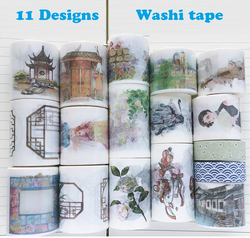 12 Designs Chinese Classical Style Window Door Pavilion Japanese Washi Tape Decorative Adhesive DIY Masking Paper Tape Stickers